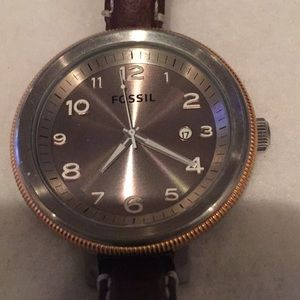 Fossil Large Face - Brown Leather Band Watch